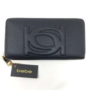 Bebe Black Quilted Logo Poppy Wallet Full Zip NWT